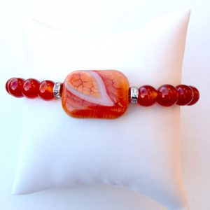 Crackled Fire Agate with Teardrop Bracelet ~ (Sold Out!)